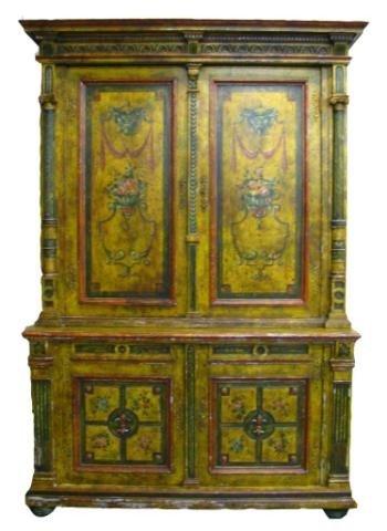 310: Large 19th Century Italian Painted Cupboard