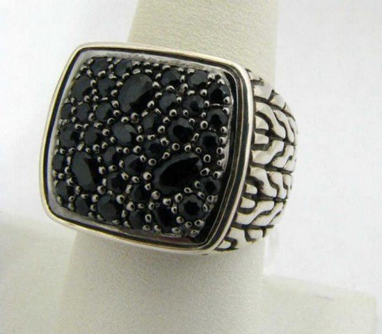 761: New Sterling Gent's John Hardy Black Sapphire Ring