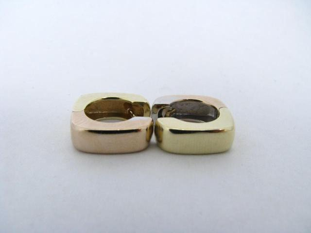 766: 18K Yellow and White Gold Huggie Earrings