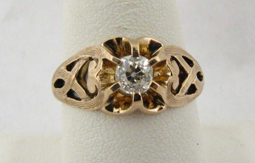 3: 14K Yellow Gold Antique Diamond Ring