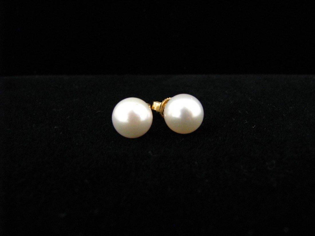 7: Mikimoto Blue Lagoon Pearl Stud Earrings