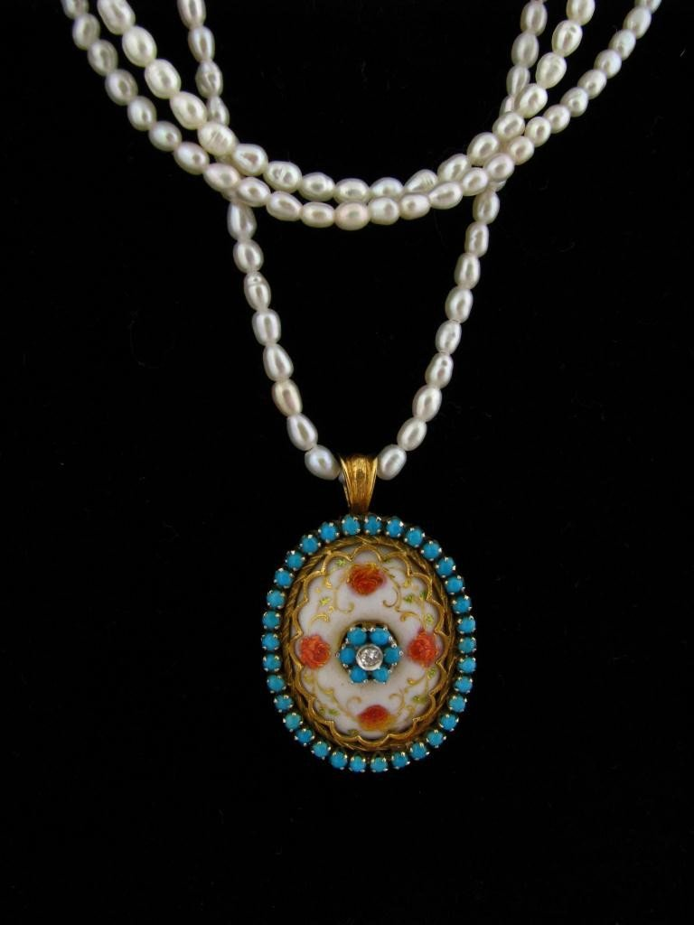 8: 18K Enameled Turquoise Pearl Necklace