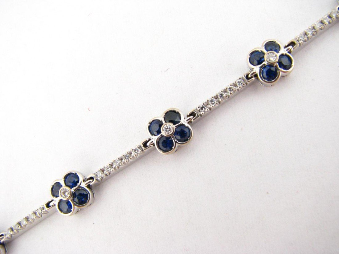 18: 18K White Gold Sapphire and Diamond Bracelet