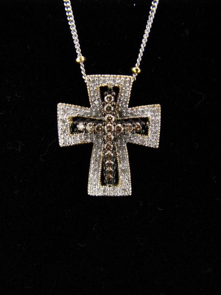 20: 14K White and Yellow Gold Diamond Cross Pendant