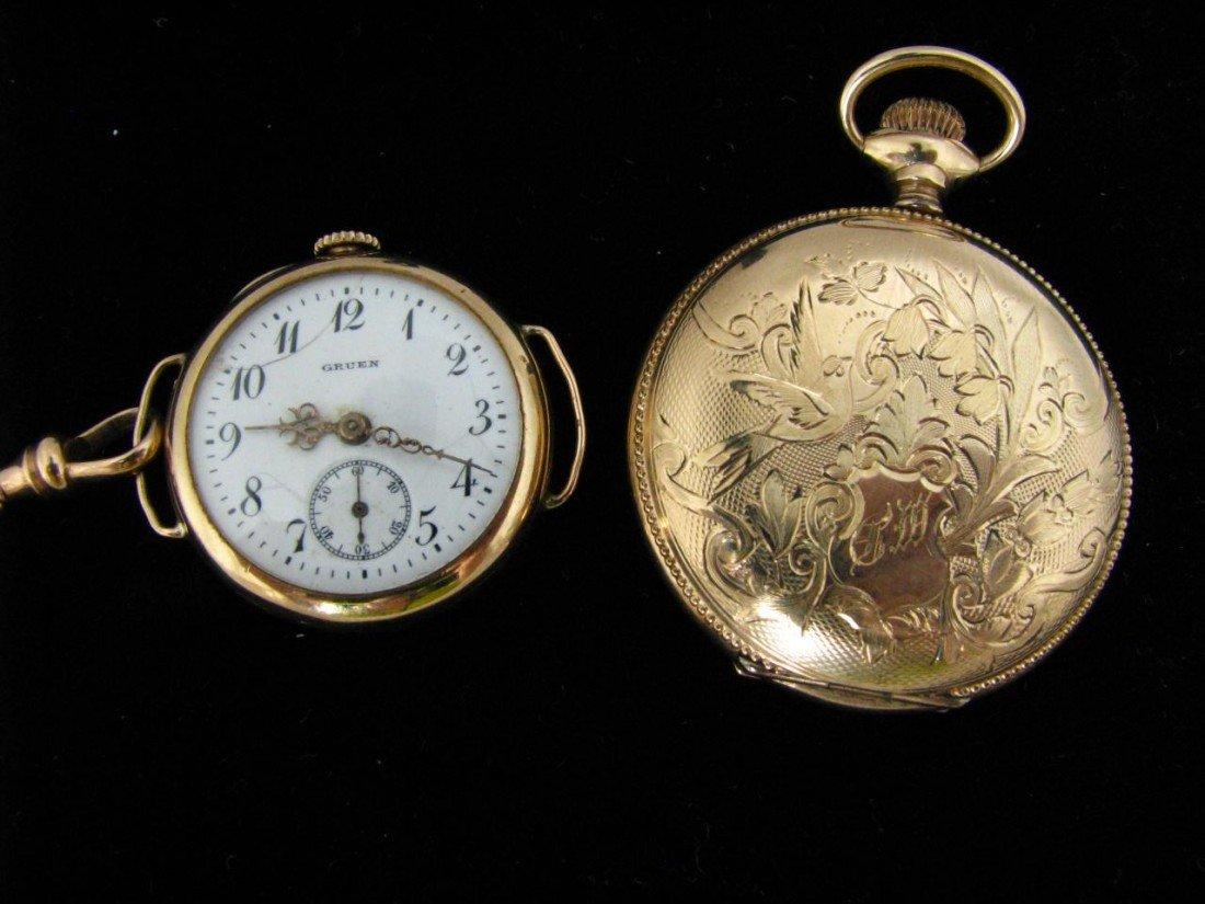22: 14K Lady's Watch Case, Gold Lady's Gruen Pendant