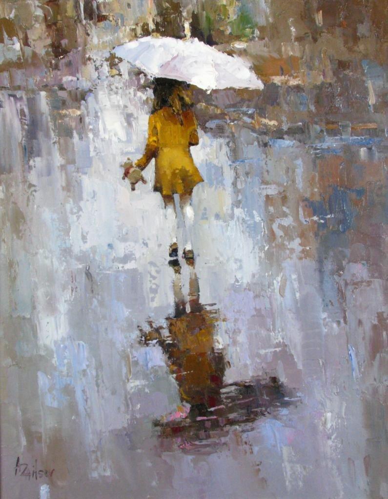 459: Alexi Zaitsev 30x24 oil on canvas 'Rain' - 2