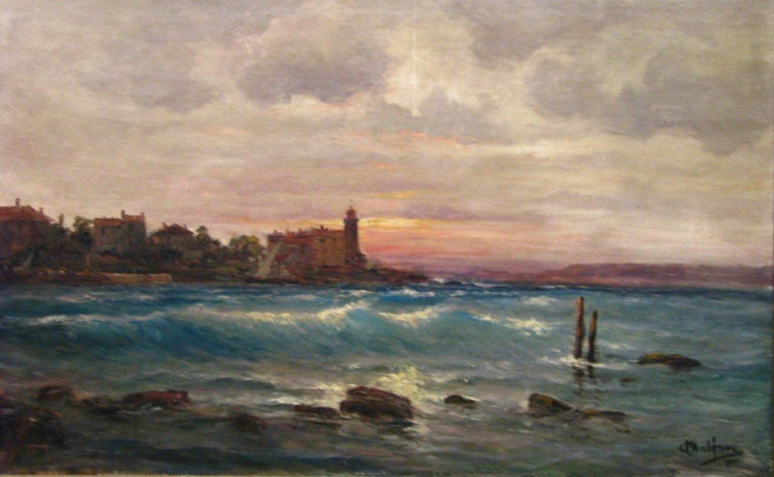 504: Charles Malfroy 28x48 O/C Seascape with Lighthouse
