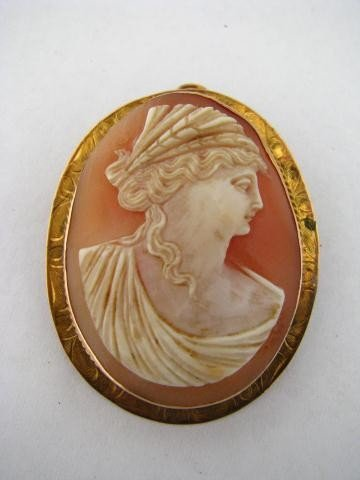 4: Vintage 10K Gold Carved Stone Cameo