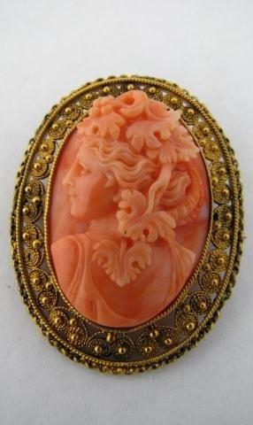 5: Vintage 18K Brooch, Carved Coral Woman