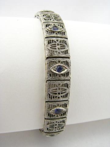 6: 14K White Gold Antique Filigree Bracelet, Amethyst