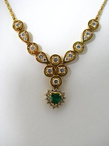 9: 18K Yellow Gold Emerald and Diamond Necklace