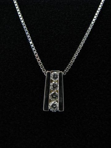 13: 14K White Gold Diamond Pendant