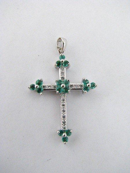 15: 14K White Gold Diamond & Emerald Cross
