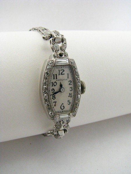 20: Vintage Lady's Hamilton Plat. & Diamond Watch