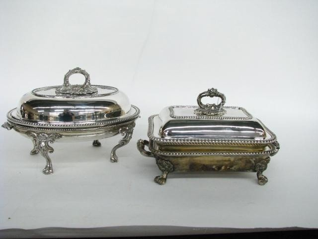 121: Two Fancy Silver Plate Chafing Dishes