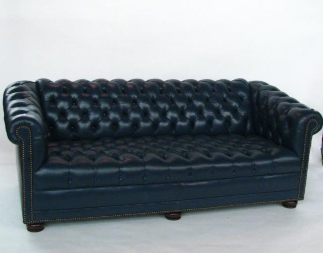 369: Navy Blue Tufted Leather Sofa