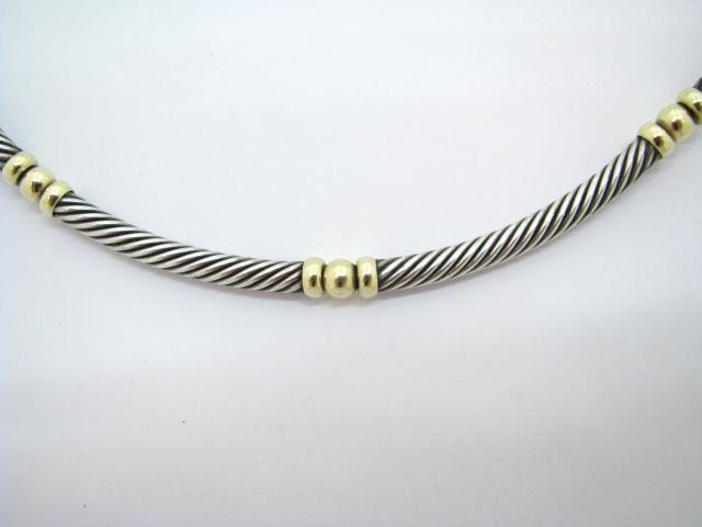 604: David Yurman Designer Choker, 14K YG & Sterling
