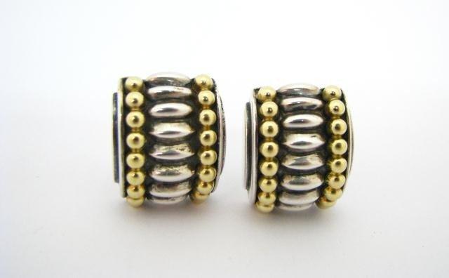 605: Lagos 'Caviar' Sterling & 18K YG Earrings