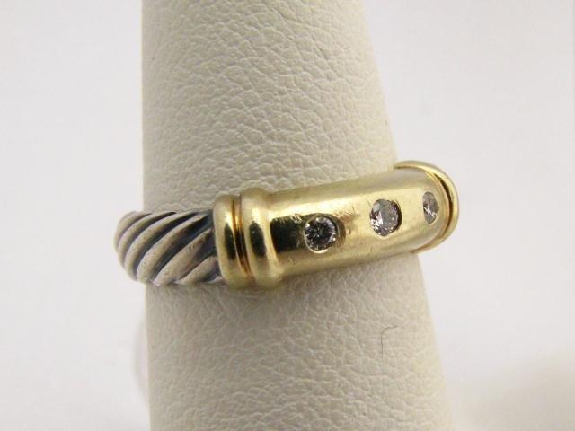 608: David Yurman Sterling & 18K Ring with Diamonds