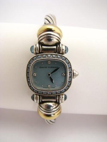 611: David Yurman Sterling Silver & 18K Lady's Watch