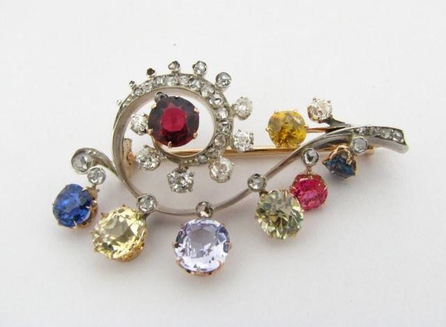 617: Antique Diamond & Sapphire Designer Pin