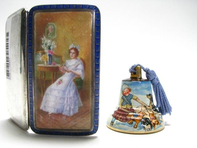 721: Silver Calling Card Case and Russian Eternal Bell