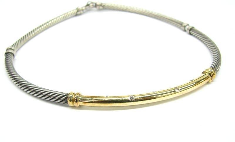 604A: David Yurman Sterling/14K Diamond Necklace