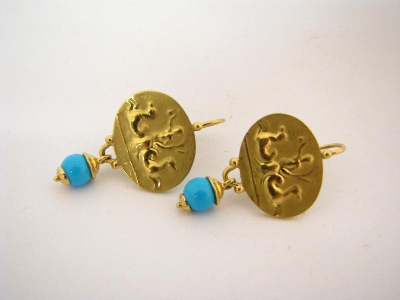 601: Lady's 18K YG and Turquoise Earrings