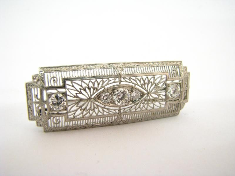 604: Vintage Style Filigree Platinum Diamond Bar Pin
