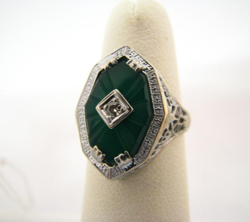 605: Lady's Antique Filigree 14K WG Ring