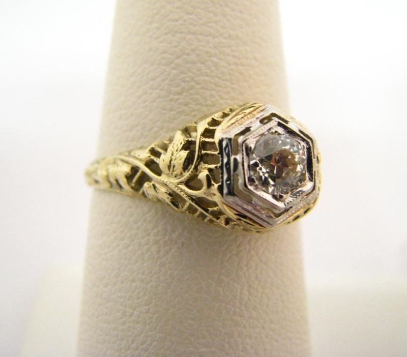 607: Lady's Filigree 14K YG Diamond Ring