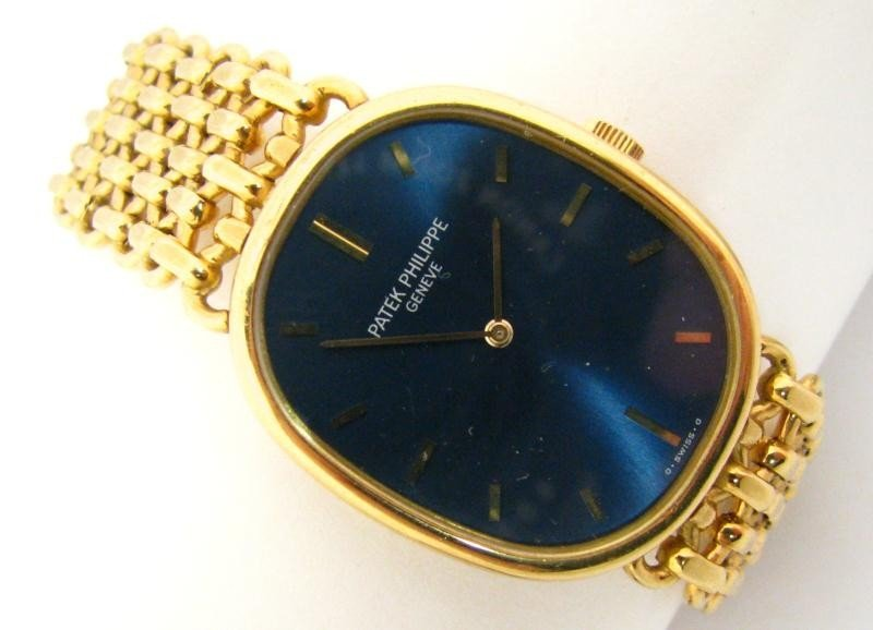 608: Patek Philippe 18K YG Gents Ellipse Wristwatch
