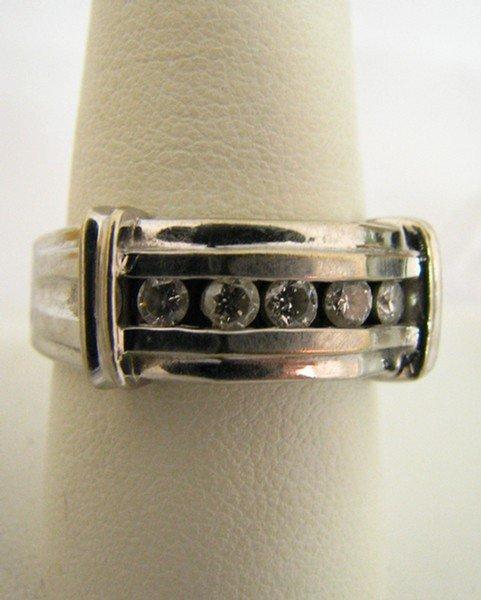 603D: Gents 14K White Gold Band, Channel Set Diamonds