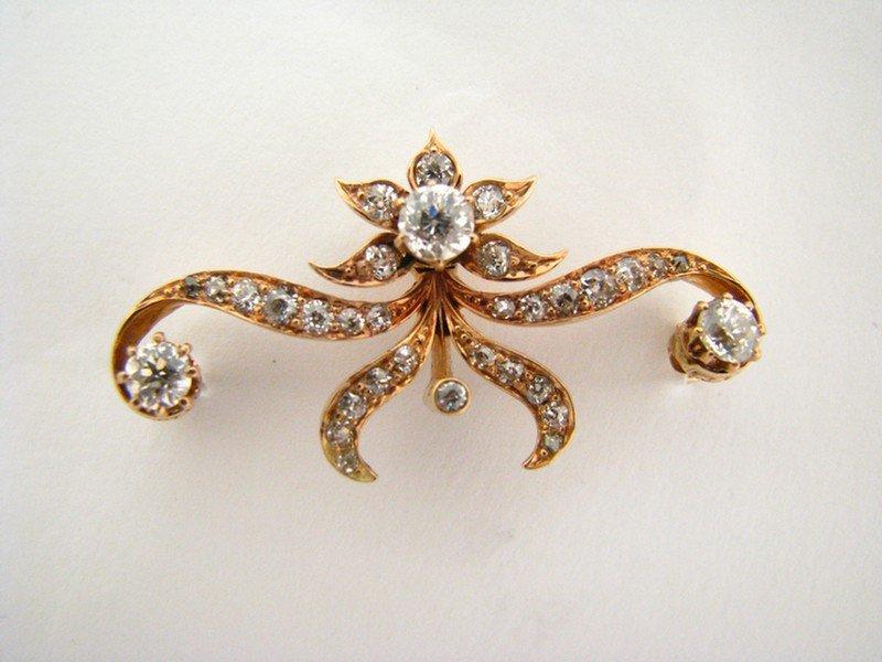 604A: Antique, Yellow Gold, Scroll Motif Diamond Pin
