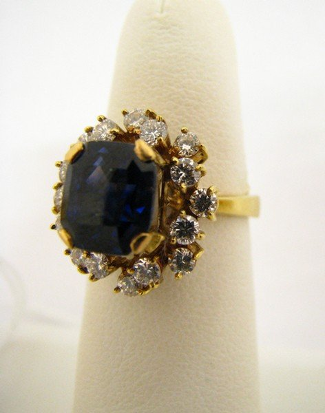 607A: 18K YG Ring with Diamonds and Sapphire Doublet