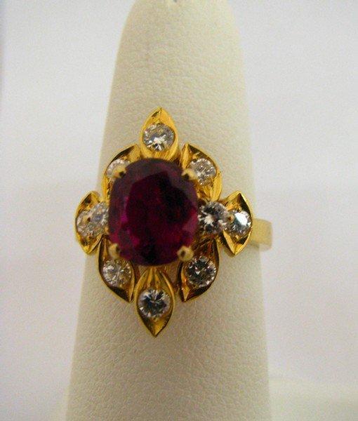 607B: 18K YG Ruby and Diamond Lady's Ring