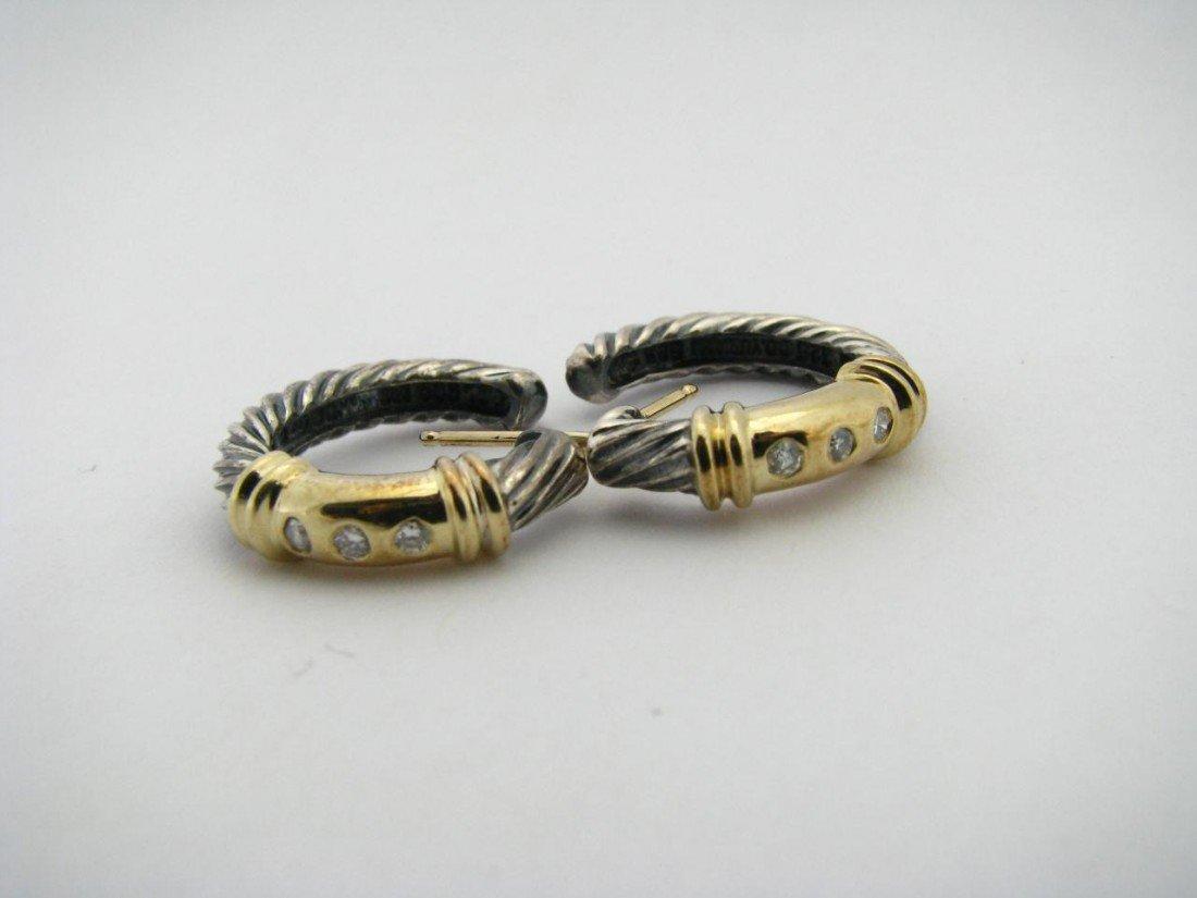 506: A Pair David Yurman Diamond Sterling, 14K Earrings