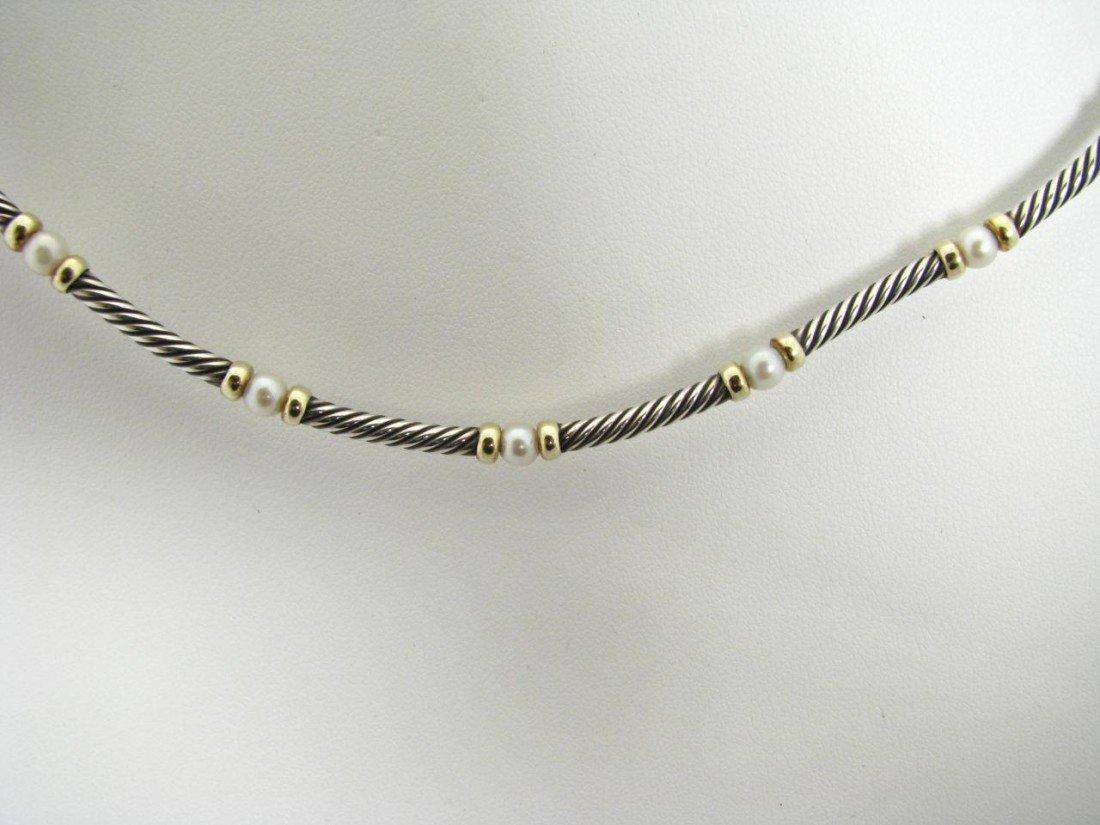 508: A David Yurman Silver, 14K YG & Pearl Necklace