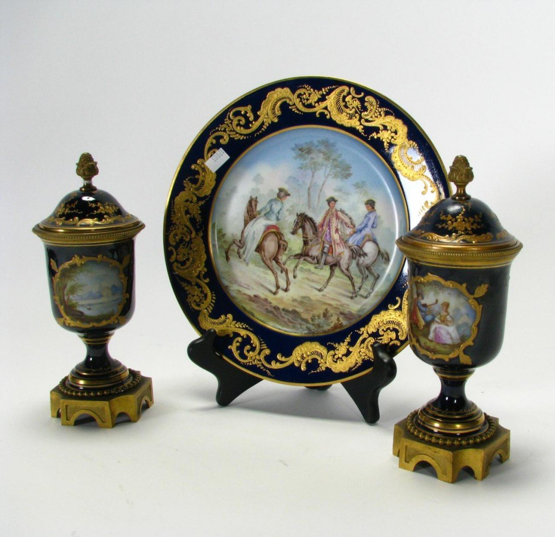 561: Group of Sevres, Dresden Style Decorator Porcelain