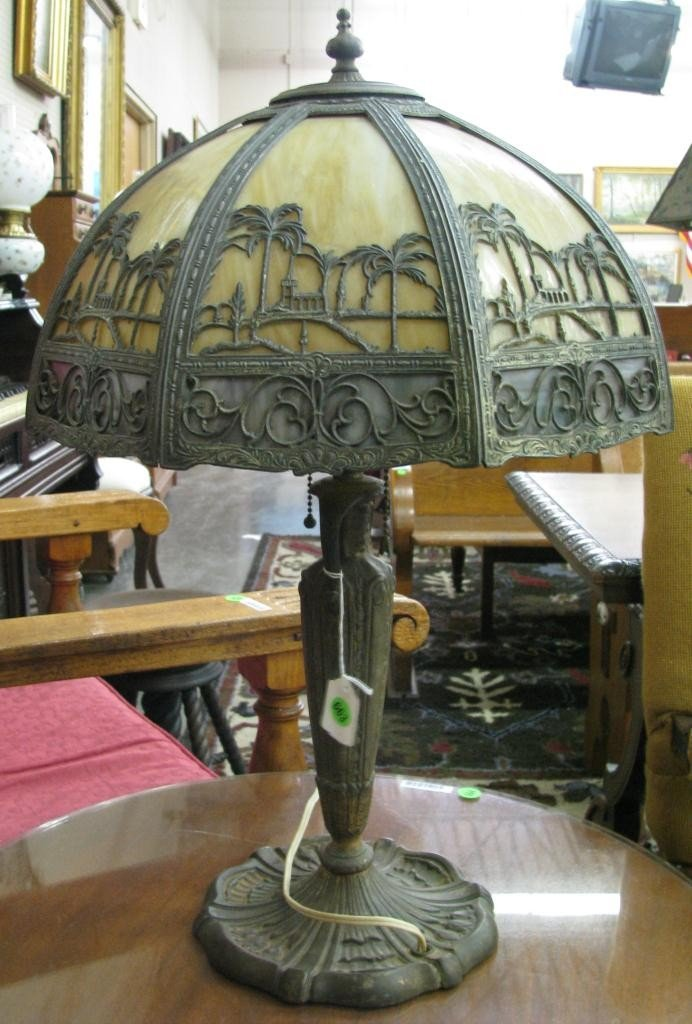 663: Art Deco Style Table Lamp with Slag Glass Shade