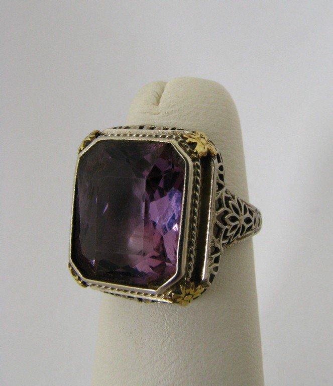 510B: 14K WG Lady's Filigree Ring, Amethyst