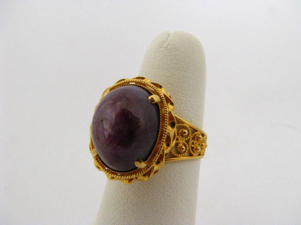 510E: 22K YG Lady's Filigree Sapphire Ring