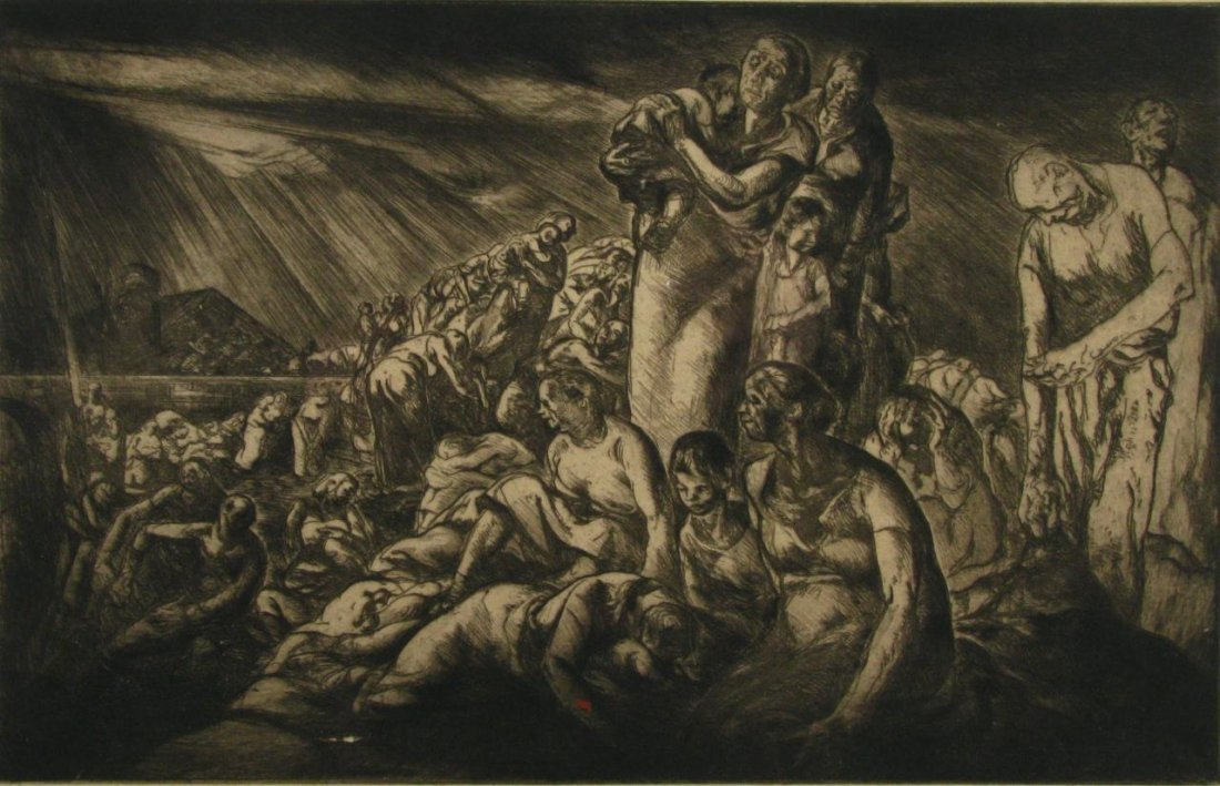"4: John E Costigan Engraving and Print ""Refugees"""
