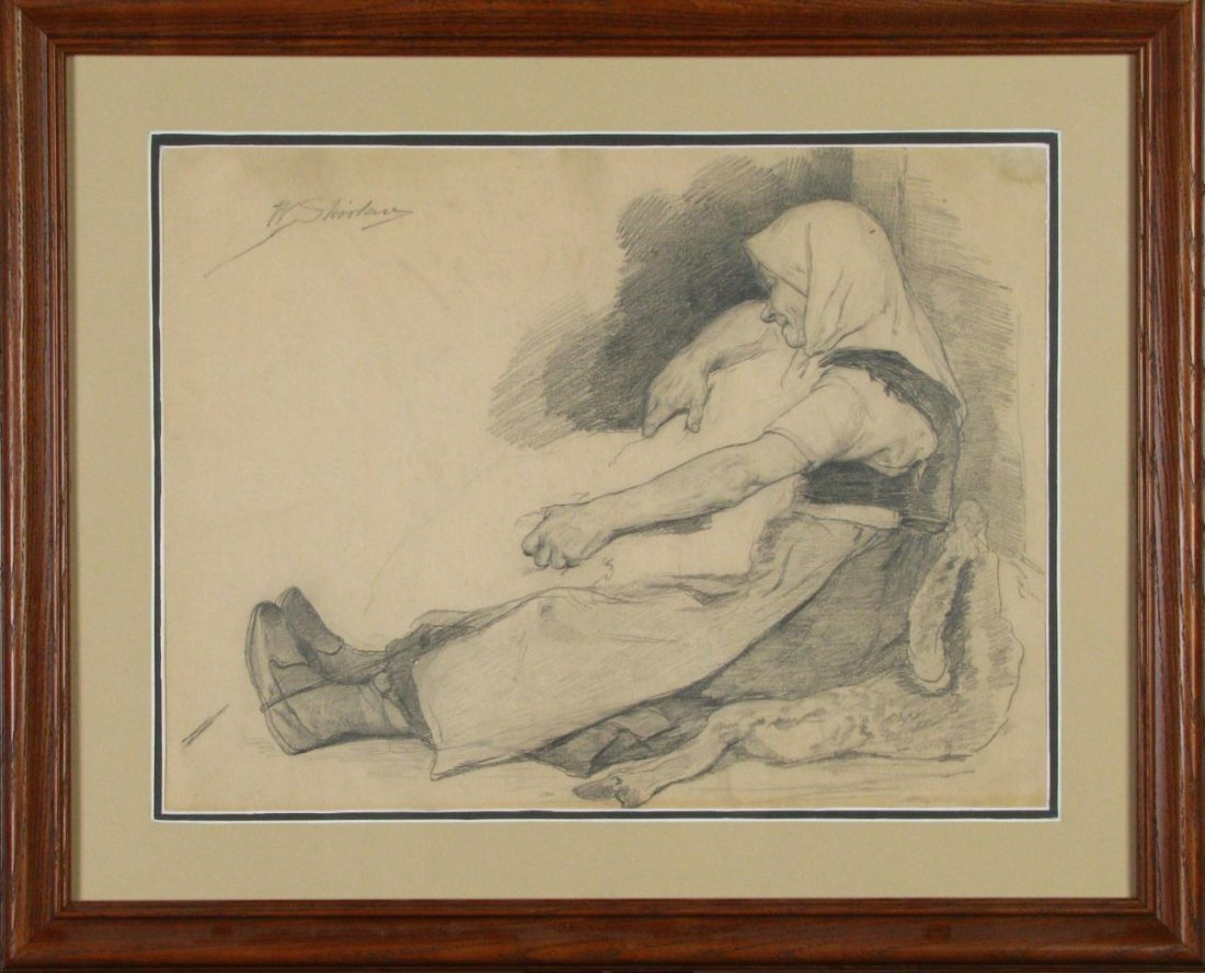 "10: W. Shirlaw 15 x 19 Graphite ""Peasant Resting"""