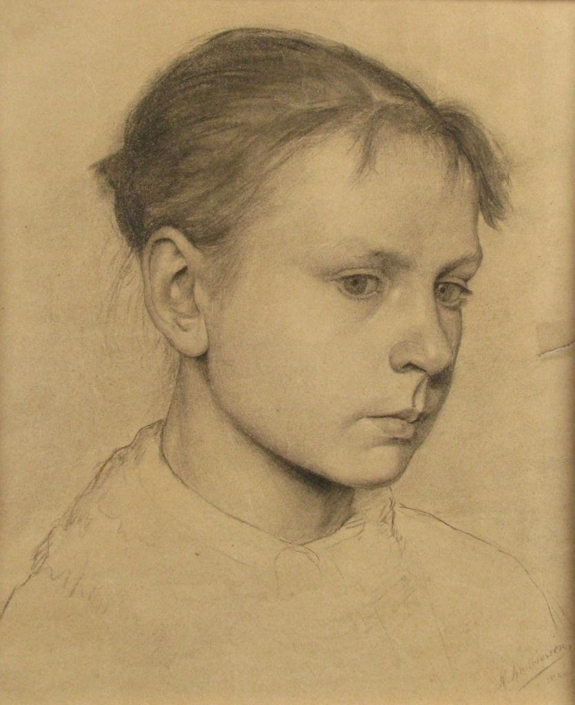 23: R. Andriessen Four Graphite Female Portraits