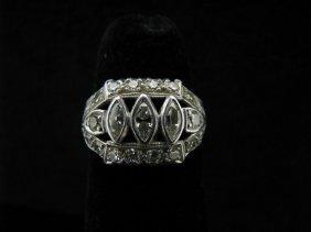 101: Lady's Platinum Antique Style Diamond Ring