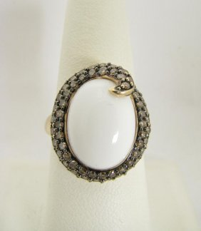 102: Lady's 14K Yellow Gold White Jade and Diamond Ring