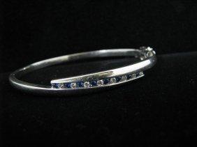 105: Lady's White Gold Bracelet, Sapphires & Diamonds