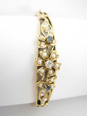 108: Lady's 14K YG Bangle Bracelet, Pearls, Diamonds