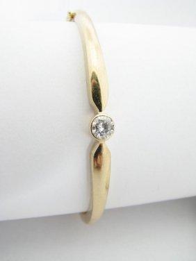 109: 14K Yellow Gold Diamond Bangle Bracelet